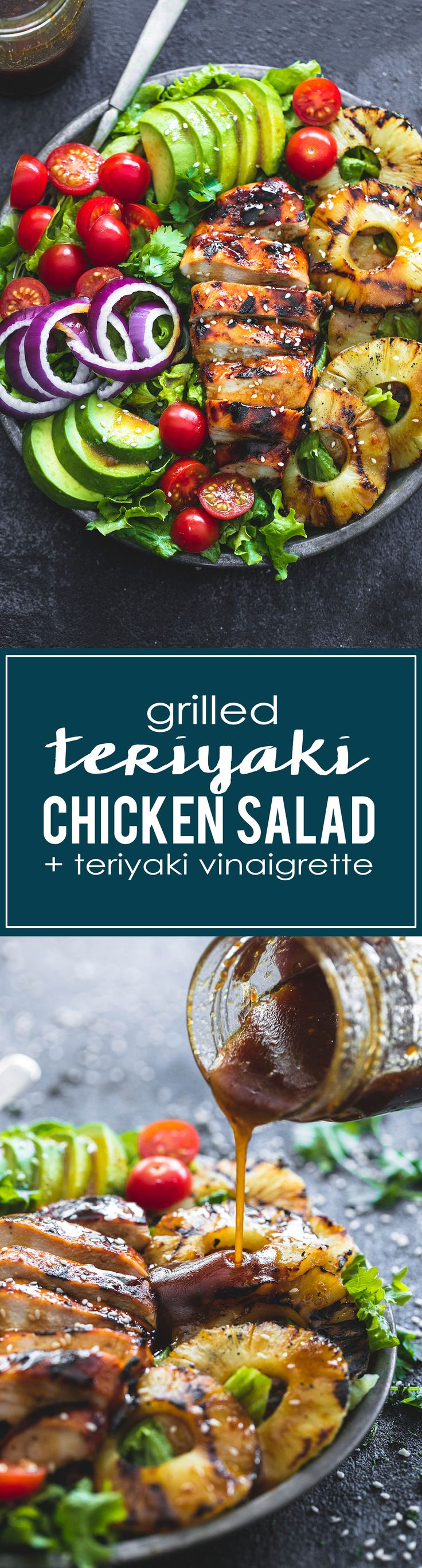 Grilled Teriyaki Chicken Salad with Teriyaki Vinaigrette | lecremedelacrumb.com