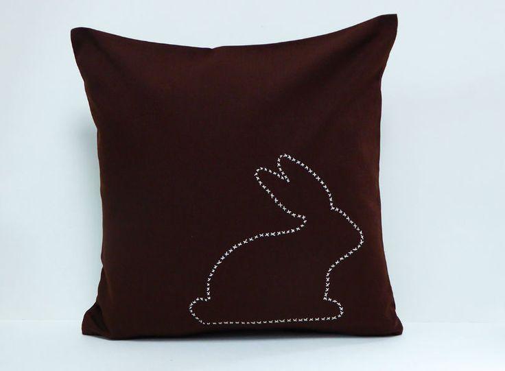 Hase Braun Kissen 40x40 Handgestickt 100% Baumwolle Ostern  Herr Fuchs #bunny