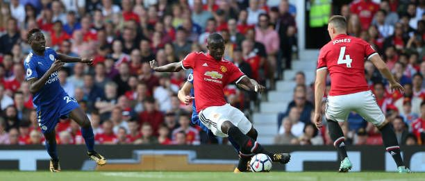 Eric Bailly of Manchester United in action during the Premier League match between Manchester United and Leicester City at Old Trafford on August 26...