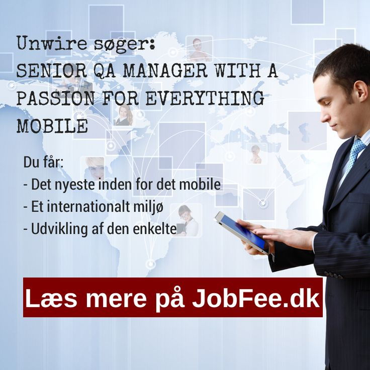 Unwire søger QA Manager http://jobfee.dk/ledige-jobs/2014/01/senior-qa-manager-with-a-passion-for-everything-mobile/
