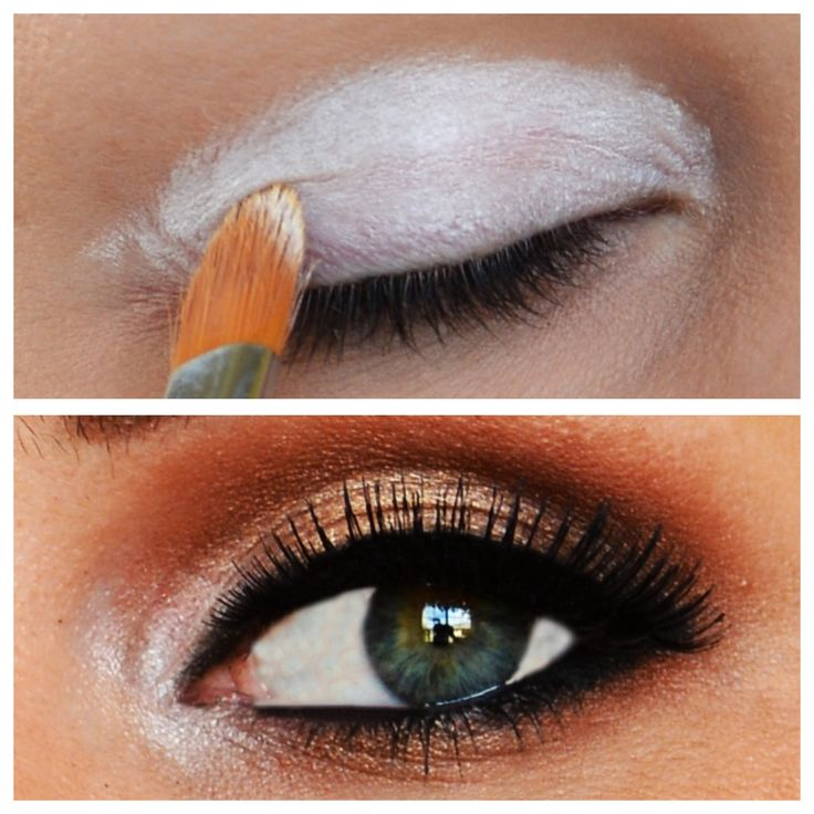 MAKEUP TRICK: BEFORE applying your eyeshadow, apply this white eyeshadow base. Your skin tone makes eyeshadow lose its vibrant color, but this white eyeshadow base makes the color POP and stick all day long! I love makeup hacks!!!!