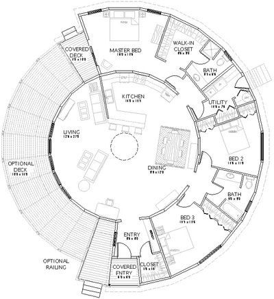 Someday, I want to build a yurt to live in and I love this layout! Leave 3rd bedroom as part of the central living space.  Great add'l sitting area with windows...