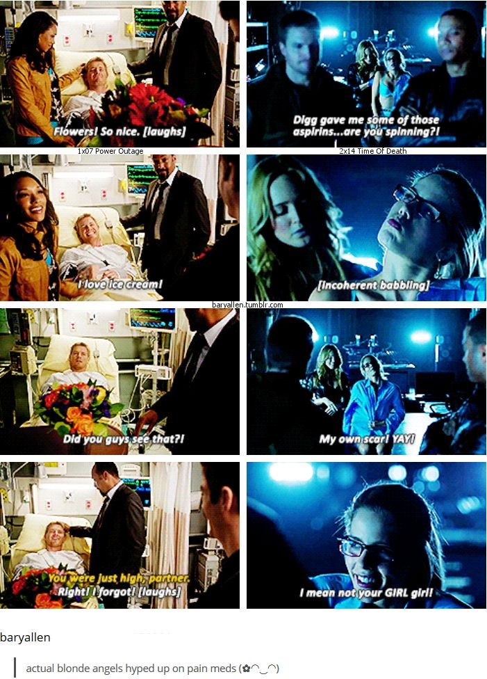 The Flash 1x07 Power Outage & Arrow 2x14 Time Of Death [gifset] - actual blonde angels hyped up on pain meds - Eddie Thawne & Felicity Smoak - loved both of these scenes!