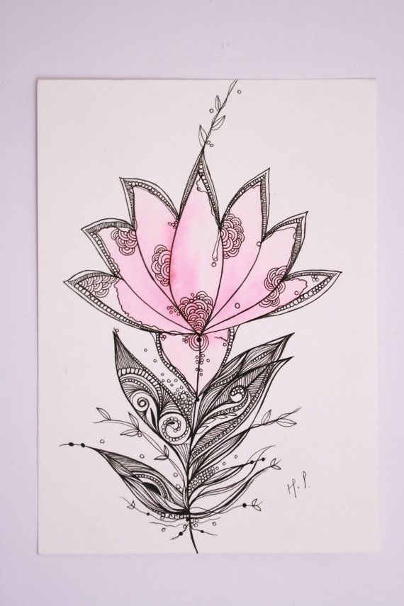 "Lotus, 5""x7"" Original Artwork, Ink and Water Colors. $25.00, via Etsy."