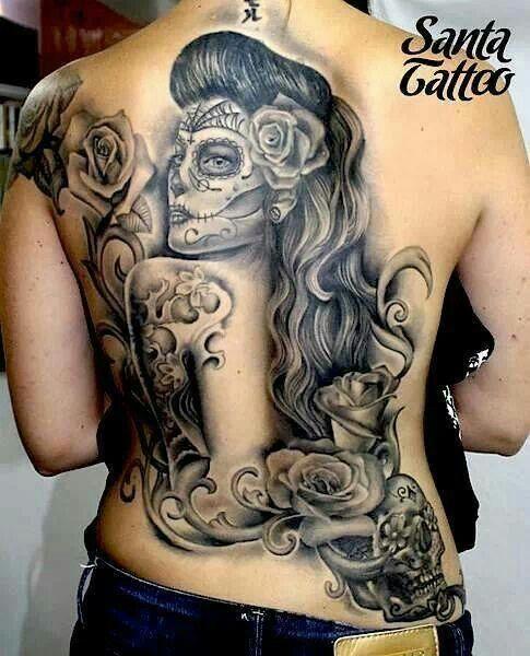 Sugar Skull Tattoo Back Tattoos