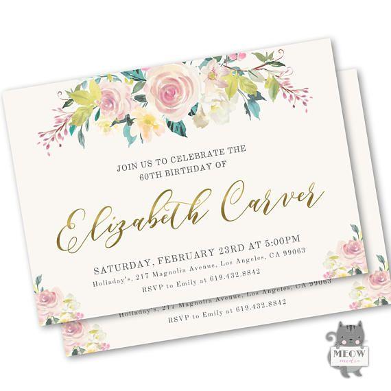 90th Birthday Invitation Elegant Birthday Invitations