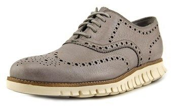 Cole Haan Zerogrand Wing Ox Men Round Toe Leather Gray Oxford.