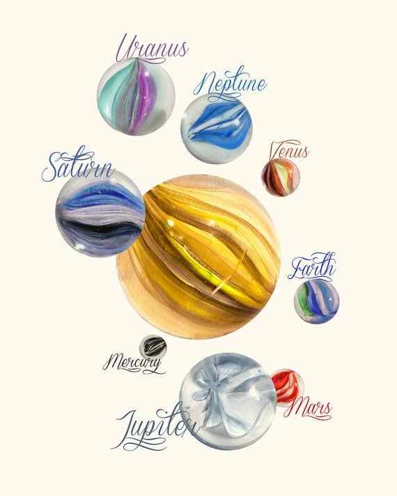 Holy shiznit!   Marbles as planets! <3    Solar system marbles ART PRINT 8x10  mixed media by sescaniques, €7.00