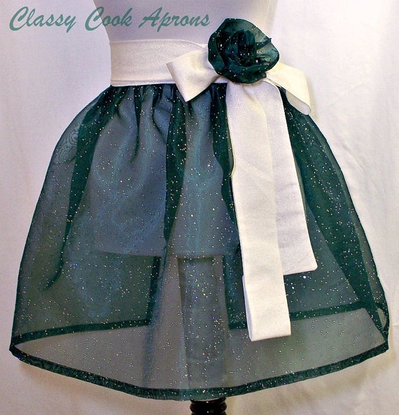 Half Apron Sheer Shamrock Green Sparkle Organza with Silver Sequins