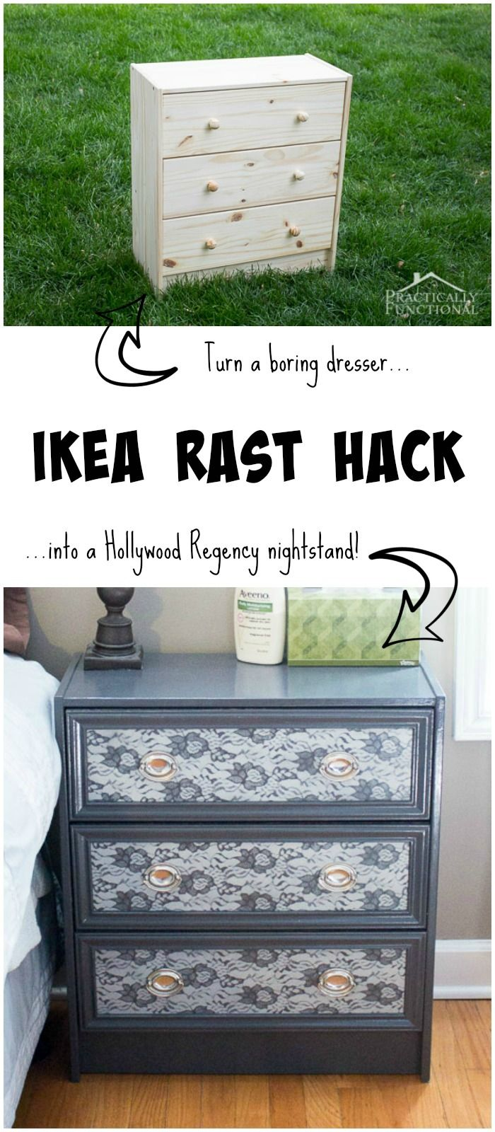 Great Ikea hack! Turn a plain Rast dresser into a gorgeous Hollywood Regency nightstand! #hickoryhardware #mymenardsDIY #ad