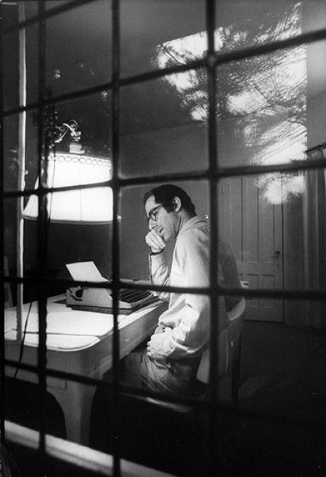 Philip Roth at work.  American Novelist.  His 2001 novel The Human Stain, another Zuckerman novel, was awarded the United Kingdom's WH Smith Literary Award for the best book of the year.