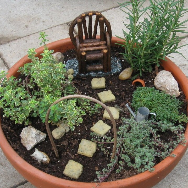 Fairy container garden with herbs gardening pinterest - How to make a fairy garden container ...