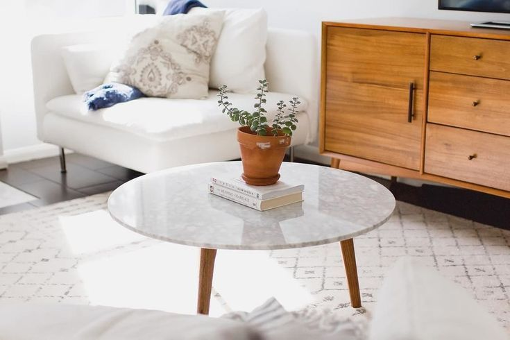 Round Marble Coffee Table In Solid Wood Walnut With Images