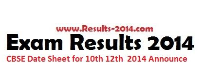 CBSE Date Sheet for 10th 12th Class 2014 Announce