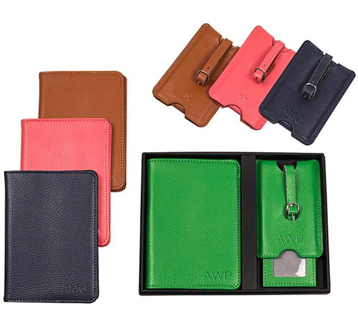 Monogrammed Leather Luggage Tag & Passport Holder Set