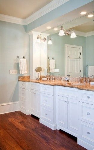 """""""Topsail"""" Sherwin Williams. blue and white bathroom. clean and airy feeling."""