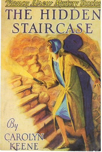 """Nancy Drew Mystery - Cover of a Nancy Drew mystery book called """"The Hidden Staircase"""".  Card sent by an artist friend to thank me for sending her a box of things to use in collages."""