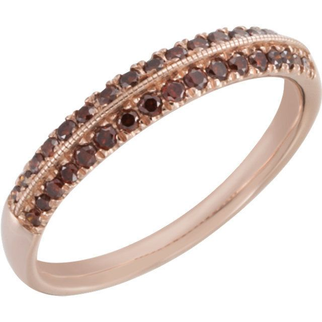 1/3 CTW Brown Diamonds Knife-Edge Anniversary Band 14kt Rose Gold Size 7 #WithDiamonds