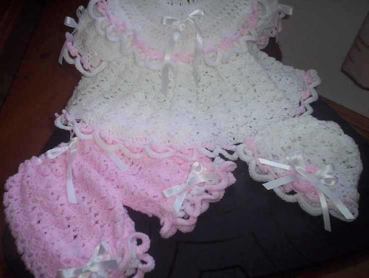 HAND CROCHET PINK AND WHITE BABY MATINEE DRESS OUTFIT 0-3 MONTHS OR REBORN DOLL uk.picclick.com