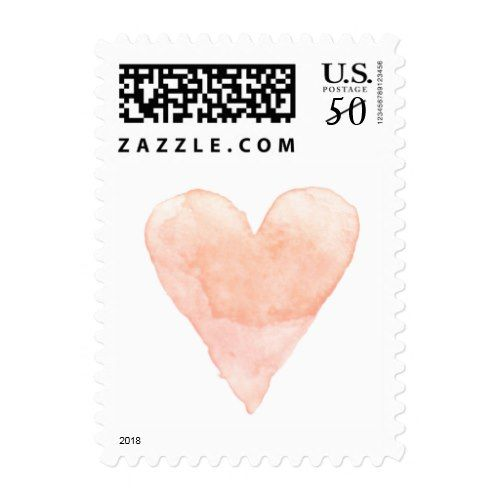 Custom wedding stamps with coral watercolor heart