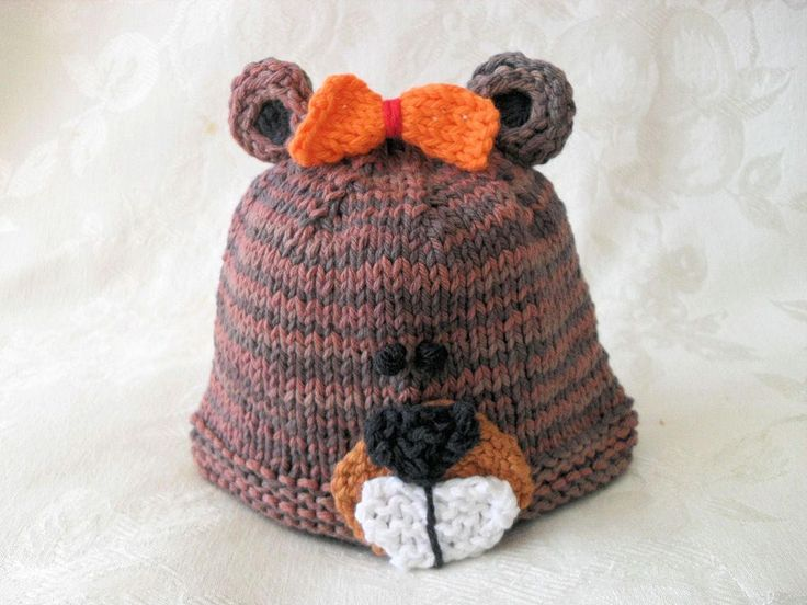 Baby Hats Knitting Knit Baby Beanie Hand Knitted Beaver Baby Hat Knitted Baby Beanie Animal Hat Bucky Beaver Hat Children Clothing by CottonPickings on Etsy