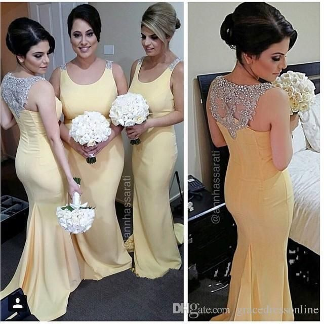 Cheap Mermaid Yellow Bridesmaid Dresses 2015 Scoop Neck Beaded Crystals Plus Size Bridesmaids Dresses For Weddings Maid Of Honor Dresses White Bridesmaid Dress Wine Bridesmaid Dresses From Gracedressonline, $80.11| Dhgate.Com