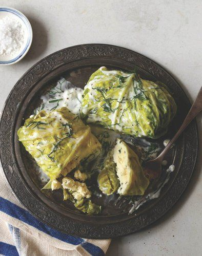 Cod-stuffed cabbage rolls with dill sauce -- try this with canned tuna, salmon or mackerel