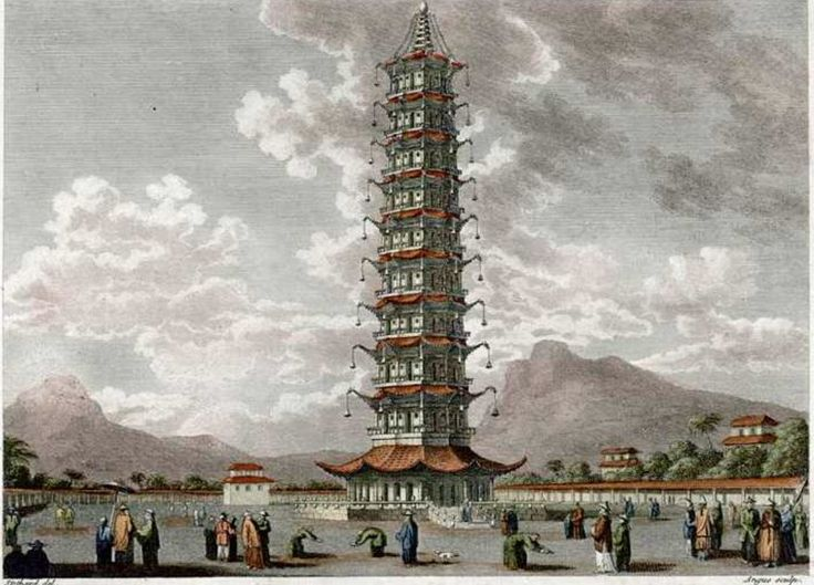 Torree de Porcelana en Nankin, construida en 1412 con los beneficios de las expediciones de Zheng He, destruida en 1856 en la rebelion de Taiping