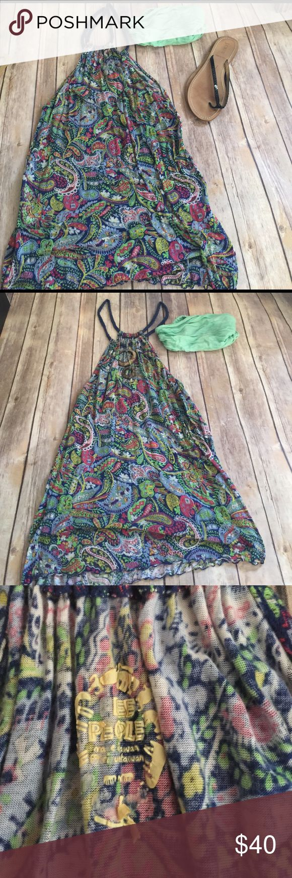 Free People Vintage Tunic Vintage FP ROPE HALTER NECKLINE WIRH WOODEN CIRCLED PIECES EMBELLISHED BACK - wear as a tunic top or overall fun piece - headband pictured is FP TOO Free People Dresses Mini