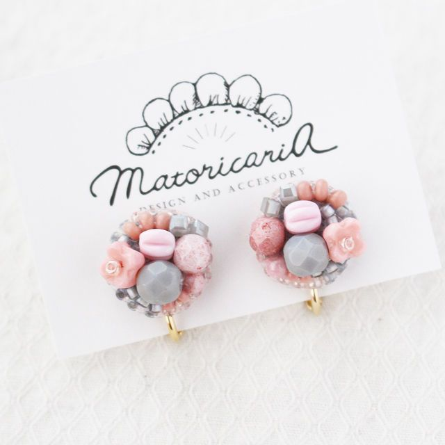 ピンクとグレー[earring]051242 | matoricaria