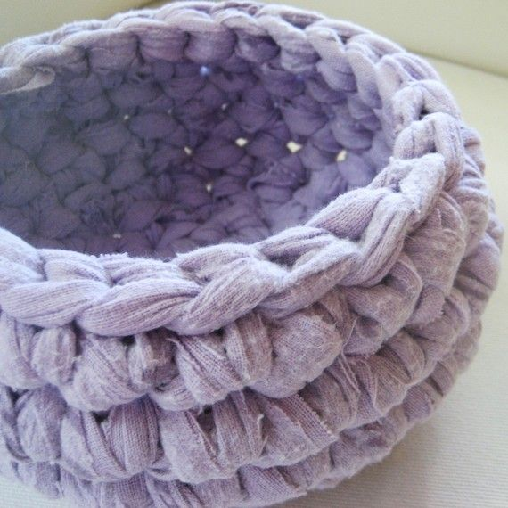 """Jennie, the owner of this Etsy shop, made a large version of this crocheted bowl for my baby daughter out of my mom's old pjs after she passed away.  We call it a """"grammy's jammies"""" basket, and it holds my baby's stuffed toys."""