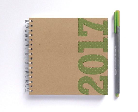 2017 Weekly Planner - LARGE 20cm/7.9in Square - Choose your colour