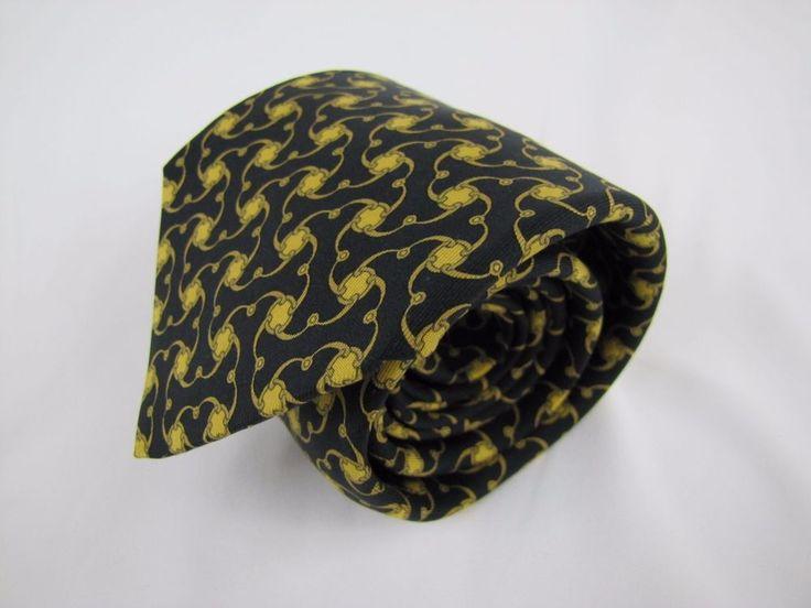 HERMES Paris Tie 7445 HA Made in France 100% Silk Black & Gold Equestrian #Hermes #Tie