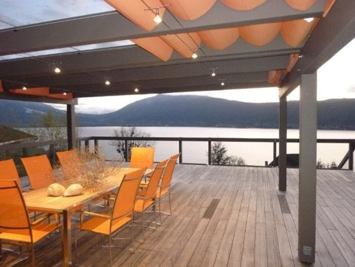 Delightful Draped Fabric Panels About Deck Can Be Opened And Closed   Contemporary  Patio Lake Annecy