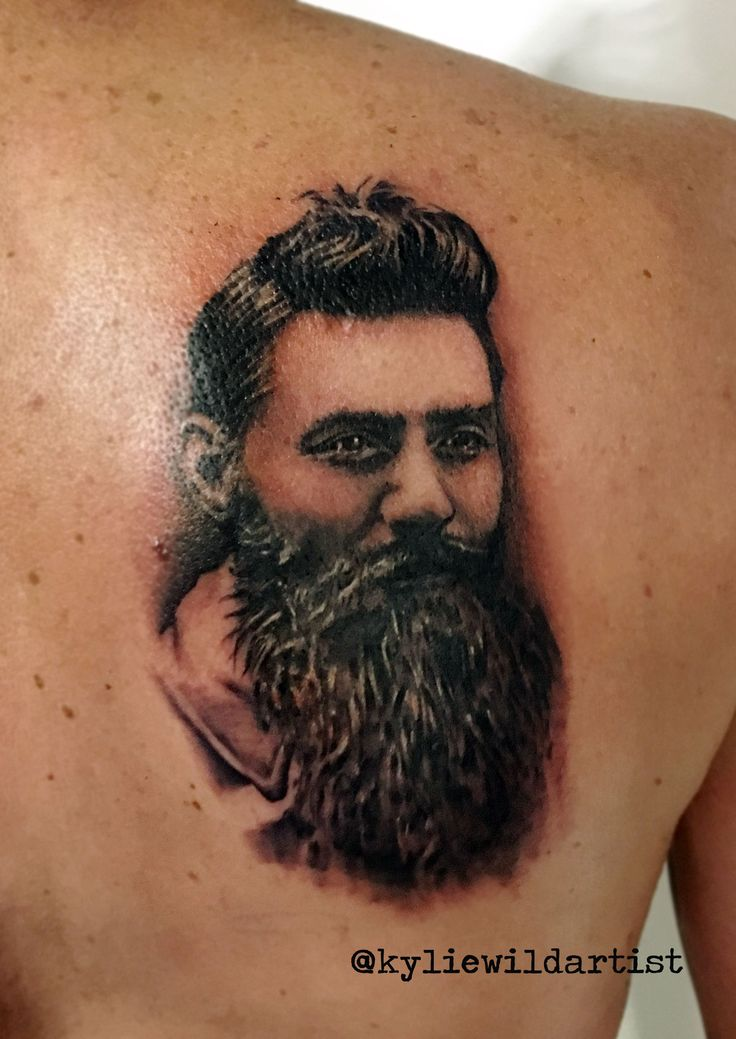 Ned Kelly Portrait Tattoo Black and Grey by Kylie H Wild Artist