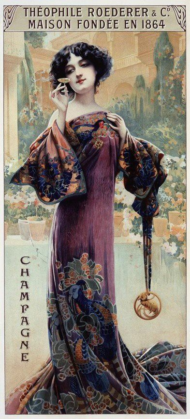 "Theophile Roederer Champagne --c. 1900. This advertisement shows ""fin de siecle"" Art Nouveau lines in graphics, pose, gown..."