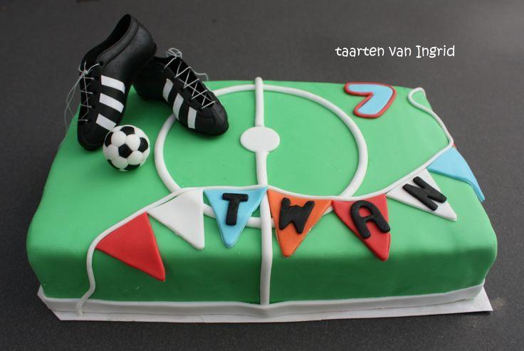 Voetbal voetbalveld taart