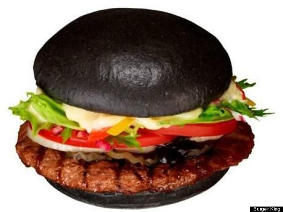 Burger King Japan sells a burger on a black bun topped with squid-ink ketchup