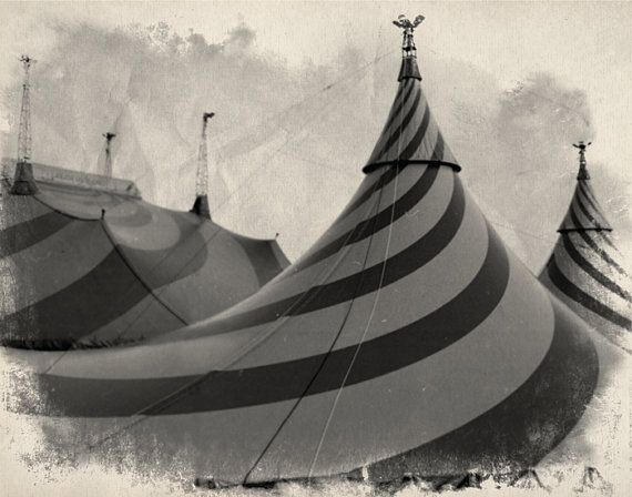 Vintage Circus Photo in Black & White  Big Top by TheLittlePixel, $25.00