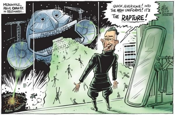 """THE LNP FASCIST DEVIL WORSHIPERS GOVERNMENT & ITS """"BORDER FORCE"""" Cartoon by DAVID POPE"""