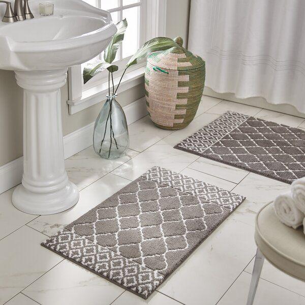 Woodcreek Rectangular Polyester Non Slip Geometric Bath Rug In 2020 Bath Rugs Bath Rug Bathroom Rugs