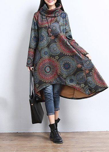 Cowl Neck Long Sleeve Asymmetric Hem Printed Dress | lulugal.com - USD $36.79