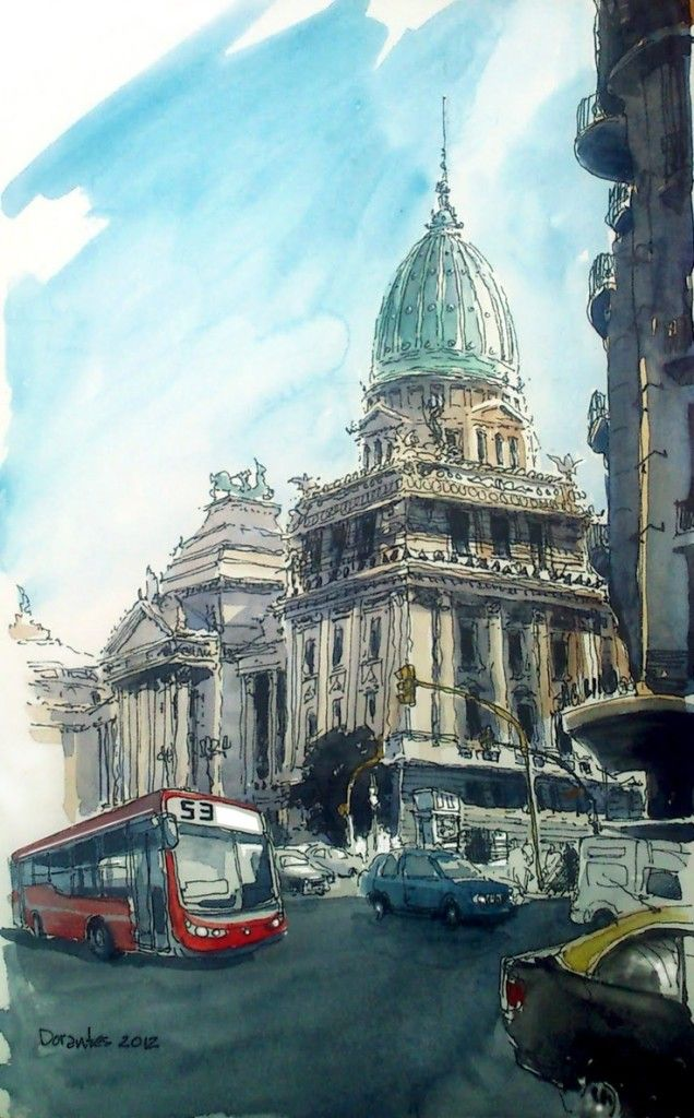 Enjoy These Cityscapes In The Form Of Urban Sketches: 40 Beautiful Locations | http://art.ekstrax.com/2014/08/enjoy-cityscapes-form-urban-sketches.html