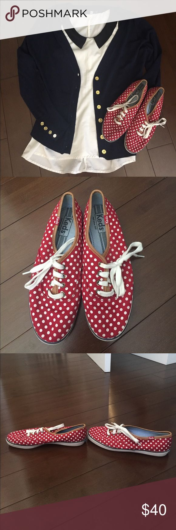 Red Polka Dot Taylor Swift Keds Champion Shoes Great condition on these Keds shoes! I actually have both this color and the blue polka dots version, I just found myself wearing the blue ones more often. Virtually no sign of wear on the top/sides/laces, and very minimal wear on the soles. Brown leather trim around the foot opening and by the laces. Soooo cute for 4th of July, Memorial Day, or just any old day! I usually wear a size 7 or 7.5, but these 6.5 fit me perfectly. Keds Shoes Sneakers