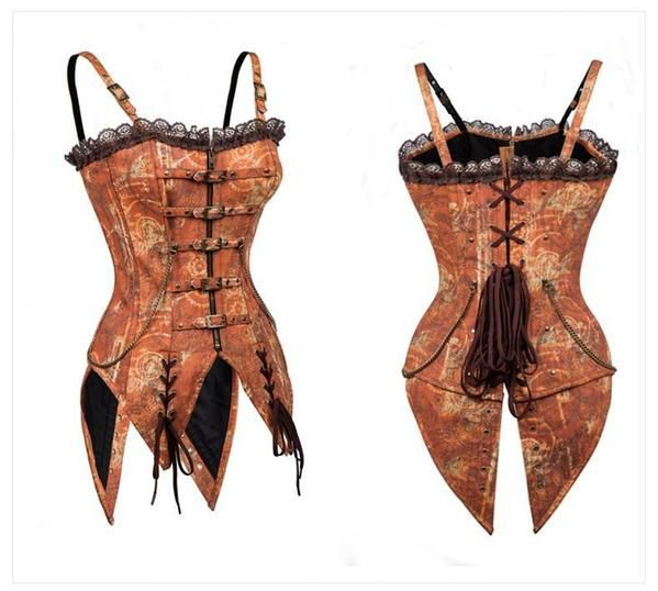 Steel Boned Overbust Corset with Shoulder Straps and Metal Chain - PagansPalace