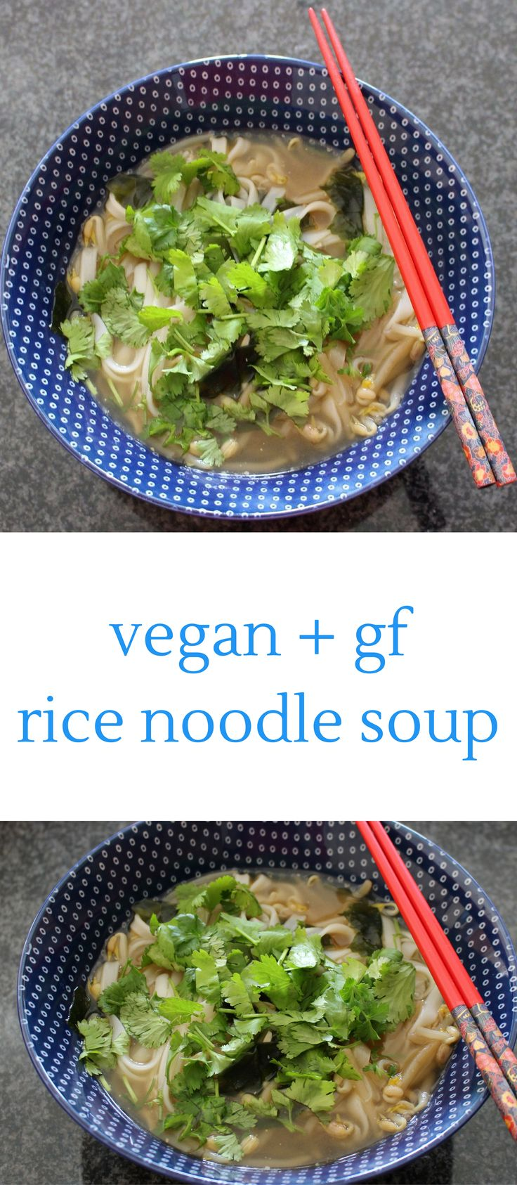 This Vegan Rice Noodle Soup is super quick and easy to make and it's also gluten-free.