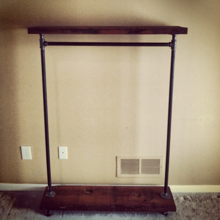 Industrial Garment Rack with Top Shelf 42 by TylerKingstonWoodCo.  Could totally DIY this