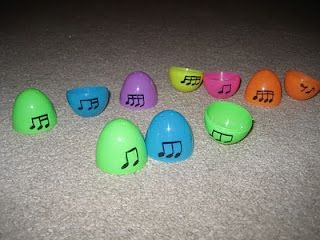From the Music Classroom...: December 2011    This is going into my bag of tricks for this year, but with a slightly longer pattern on each half for make your own mix and match ostinato patterns.  Now to find leftover Easter eggs!