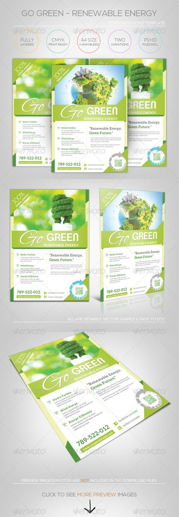 renewable energy go green flyer template recycling logos and fonts. Black Bedroom Furniture Sets. Home Design Ideas