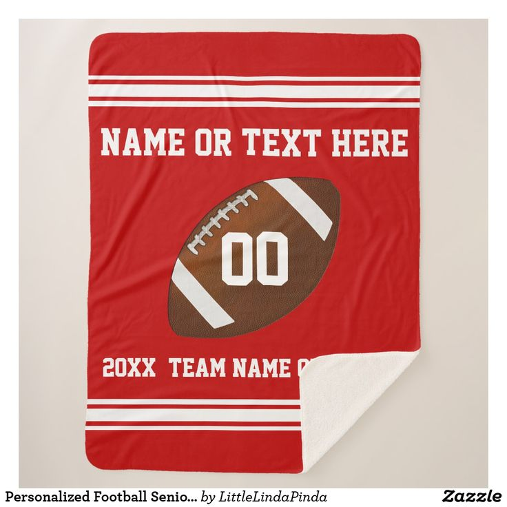 Personalized Football Gifts for Players, Seniors and Team in Your Colors and Your Text CLICK: See HUNDREDS of football gift ideas for players, gifts for football coaches HERE: https://www.zazzle.com/z/o848p?rf=238147997806552929 Designer Linda: 239-949-9090 can change the COLORS of football gifts. Senior night football gifts for players. Football team gifts Hundreds of football blanket, pillows and more HERE: http://www.zazzle.com/littlelindapinda/gifts?cg=196532083173197928